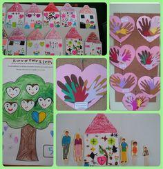 Αυτή την εβδομάδα ασχοληθήκαμε με την οικογένεια! Θέμα ανεξάντλητο... τόσο αγαπημένο από τα παιδιά! Μιλήσαμε για τα μέλη της οικογένει... Happy Family, Preschool, Calendar, Kids Rugs, Holiday Decor, Blog, Crafts, Mamma, Classroom