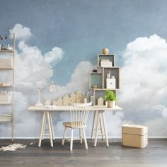 Who hasn't dreamed of taking a nap surrounded by fluffy clouds? In Cuddle Clouds, your dream can become reality. Just place the tapestries in the bedroom and dreamlike rest will surely be achieved. The wallpaper is repeatable sideways.