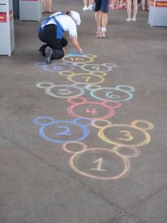 Mickey Mouse hopscotch! We're always looking for things to do with sidewalk chalk.