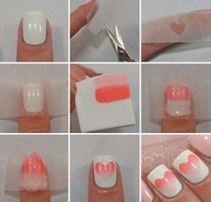 Ombre Heart Nail ArtSimple and easy to do1. Paint your nails the desired colour and let dry 2. Cut out a heart shape on parchment paper 3. Use a sponge to swipe two similar colours (one should be darker and one lighter)  4. Press sponge on parchment paper shape covering nail  5. Clean uneven edges