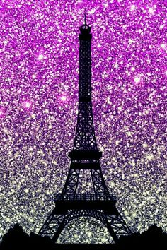 Eiffel Tower, Paris (Purple & Silver Glitters) - Phone Wallpaper