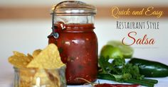 Quick and Easy Restaurant Style Salsa- Best Salsa Recipe out there! Uses a secret ingredient to make it taste like an authentic restaurant salsa. YUM! #salsa #recipes #cincodemayo