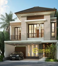 Poppy Private House Design - Jakarta Selatan- Quality house design of architectural services, experienced professional Bali Villa Tropical designs from Emporio Architect. Modern House Facades, Modern House Plans, Luxury Homes Exterior, Exterior Design, Minimalist House Design, Modern House Design, House Arch Design, Filipino House, Indian Home Design