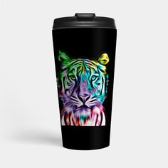 """Grab this awesome """"Colorful Tiger Head"""" design now, and show it off to your family and friends. Tiger Art, Tiger Head, Coffeecup, Mug Shots, Big Cats, Travel Mug, Stoneware, Clay, Colorful"""