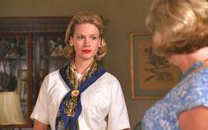 Betty Draper scarf with fleur de lys pin