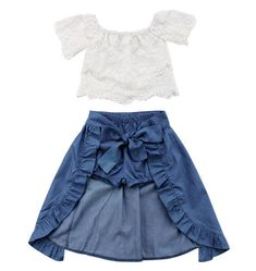 Cheap Clothing Sets, Buy Directly from China Fashion Children Girl Summer Clothes Off shoulder Lace White Tops+Denim Shorts Ruffles Bow Skirt Outfit Kids Clothing Set Girls Summer Outfits, Baby Outfits, Toddler Outfits, Girls Dresses, Summer Clothes, Party Clothes, Toddler Girls Clothes, Clothes 2019, Dress Clothes