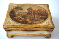Vintage Italian Florentine Wooden Painted Gesso Box Silk Lined With Scene of Rome by lemonsuncat on Etsy