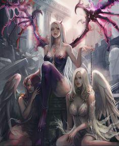 thanks for the likes fanatic art anime credits to the artis Dark Fantasy Art, Fantasy Girl, Fantasy Art Women, Fantasy Warrior, Anime Fantasy, Fantasy Artwork, Dark Art, Warrior Angel, Demon Artwork