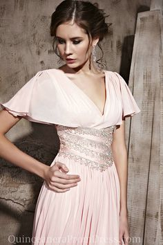 Chiffon V Neck Pink Modest Long Girls Evening Prom Dress Shop Online,Evening Prom Dress-Evening prom dress, UK prom dresses, best prom dress...