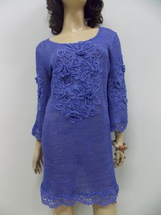 Buy Gorgeous Knitted  Rust Cobalt Blue Linen TUNIC, Crocheted Lace Decoratoin, Handmade Knitted Dress by talitahandmade. Explore more products on http://talitahandmade.etsy.com