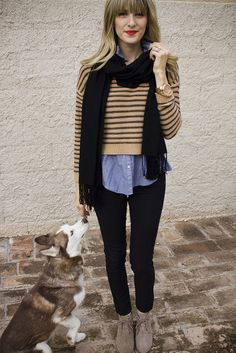 stripes, booties, chambray, lips