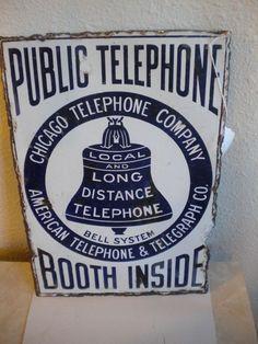 Antique 1900's Porcelain Chicago Telephone Public Co.Telephone Booth Inside Sign #ChicagoTelephone
