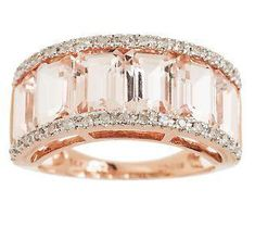 4.00 Ct Tw Channel Set Morganite & Diamond Ring, 14K — QVC.com ...