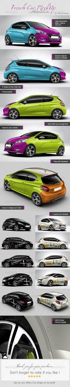 Photorealistic French car mock-up , Peugeot 208 mockup, car wrap, voiture, flocage, France, floquer, autocollants voiture, aperçu