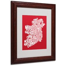 """RED-Ireland Text Map"" by Michael Tompsett Matted Framed Textual Art"