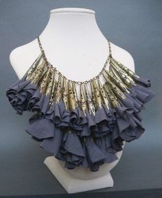 fabric necklace, a neat concept if it is coordinated with the fabric of the garment worn