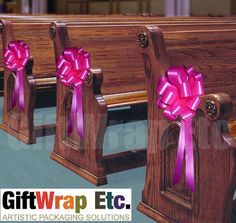 quinceanera church decorations | ... Pink Pull Bows Wedding Pew Shower Gift Church Party Decorations