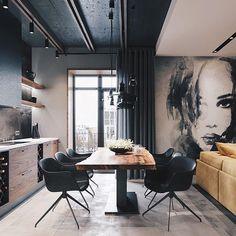 Swipe left to see more! Loft Apartment Design by Leonid Sizikov Design Loft, Loft Interior Design, Industrial Interior Design, Interior Architecture, Interior Decorating, House Design, Design Design, Loft Apartment Decorating, Condo Design