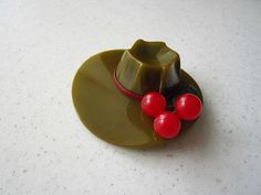 Olive Green Bakelite Hat with Cherries and Green Leaf Pin Brooch