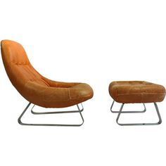 Leather Lounge Chair And Ottoman By Percival Lafer