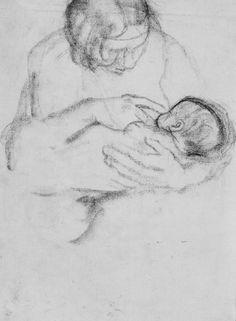 Käthe Kollwitz, Lotte. Rückseitig: Mutter, die ihr Kind nährt, 1928-1930,