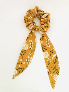 Your place to buy and sell all things handmade Scrunchies, Mustard Scarf, Bun Wrap, Fashion Terms, Tie Headband, Elastic Hair Bands, Ribbon Hair, Ponytail Holders, Floral Hair