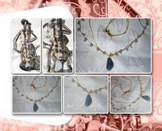 Correntes em crochê com fio metalizado ouro, sendo uma com pedras da lua; pingente quartzo azul claro (solitário).