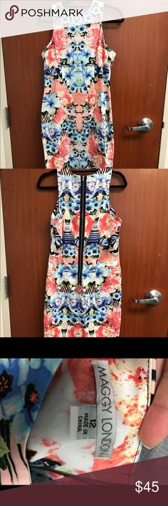 """BEAUTIFUL colorful dress Never worn! With tags! Size 12. Length goes up to knees for someone 5'7"""" Maggy London Dresses"""