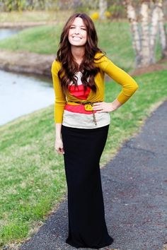 mustard cardigan, coral and white top, leopard skinny belt, black maxi skirt