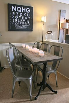 Weathered Wood Dining Table, Restoration Hardware, Metal Chairs, Glassybaby, drafting table base DIY