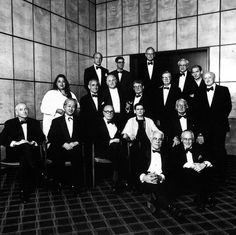 "archiveofaffinities: "" Philip Johnson Birthday Celebration, Four Seasons Restaurant, New York, New York, July 1996 Seated on the Floor: Peter Eisenman and Jacquelin Robertson First Row: Michael. Kenzo Tange, Fumihiko Maki, Richard Meier, Philip Johnson, Frank Gehry, Oscar Niemeyer, Peter Eisenmann, Stanley Tigerman, James Stirling"