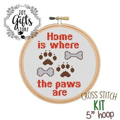 Is Where The Paws Are Counted Cross Stitch Kit. CrosHome Is Where The Paws Are Counted Cross Stitch Kit. Cross Stitch Fabric, Cute Cross Stitch, Modern Cross Stitch, Counted Cross Stitch Patterns, Cross Stitch Embroidery, Cross Stitching, Hand Embroidery, Funny Cross Stitch Patterns, Cross Stitch Designs