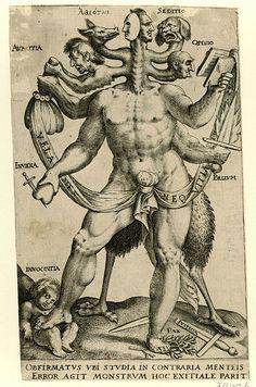 Allegorical Five-headed Monster (Allegorisch vijfkoppige monster), anonymous, 1575 - 1618