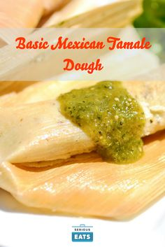 With Green Chili and Pork Tamales filled with shredded pork carnitas in a green chili sauce.Tamales filled with shredded pork carnitas in a green chili sauce. Tamale Dough Recipe, Tamale Sauce, Tamale Pie, Best Tamale Recipe, Masa Recipes, Pork Recipes, Cooking Recipes, Freezer Recipes, Freezer Cooking