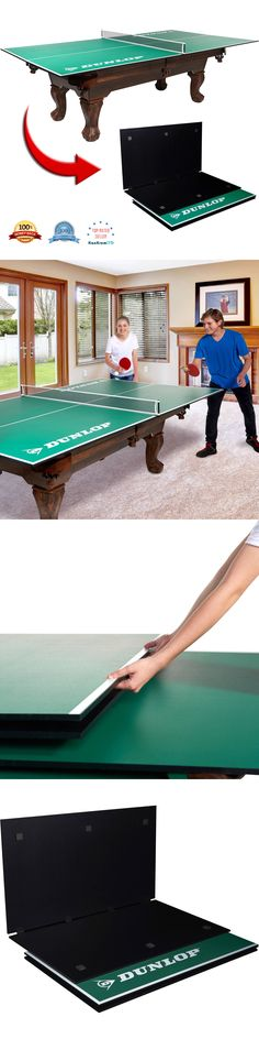 Tables 97075: Dunlop Official Size Table Tennis Ping Pong Conversion Top 4  Piece Game Room