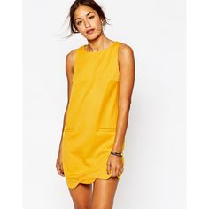 Missguided Scallop Hem Shift Dress ($30) ❤ liked on Polyvore featuring dresses, mustard, white zipper dress, yellow shift dress, white scalloped dress, scoop neck shift dress and white dress