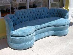 Vintage Hollywood Regency Sofa With Tufted Back. . . In Hot Pink Or Black  Velvet