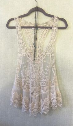 Dreamy sheer vanilla lace camisole with gorgeous embroidery size Medium. For 15% off coupon go to www.summer-coquette.myshopify.com