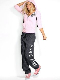 VS PINK sweatpants (fleece only please...no french terry)...either Campus or Boyfriend cut (this gray is nice)