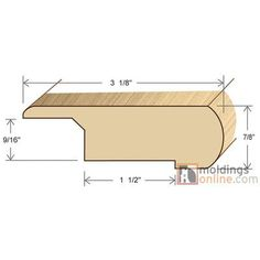 "Moldings Online 0.87"" x 3.13"" x 72"" Stair Nose Olap"