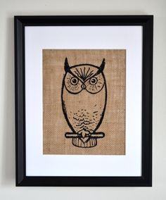 The Owl screen print burlap wall art