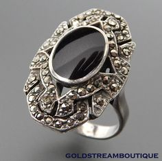 OVAL BLACK ONYX INLAY MARCASITE ACCENTS STERLING SILVER ELONGATED ART DECO RING #Cocktail