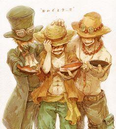 One piece - Ace, Sabo, Luffy Manga Anime, Film Manga, Me Anime, Anime Art, One Piece Ace, One Piece Manga, One Piece Luffy, Otaku, Ace Sabo Luffy