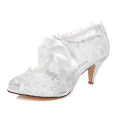 JIAJIA Women s Bridal Shoes 5949419 Peep Toe Cone Heel Lace Satin Pumps  Ribbon  fashion   35d9d1af7538