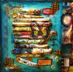"""Begin At Wonderful"" mixed media altered art canvas by Constance Taylor Mixed Media Collage, Mixed Media Canvas, Collage Art, Kunstjournal Inspiration, Art Journal Inspiration, Altered Canvas, Altered Art, Altered Tins, Altered Books"