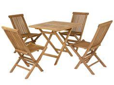 Mesa plegable y 4 sillas teca