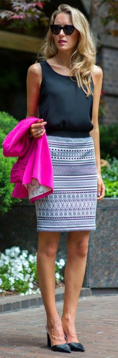 black and white aztec print pencil skirt + fuchsia pink blazer