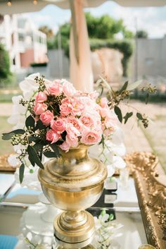 Brandi & Paul | Southern Graces & Company | Lowcountry Bride | Love | Marriage | Flowers | Bouquet | Pink and Gold | Roses