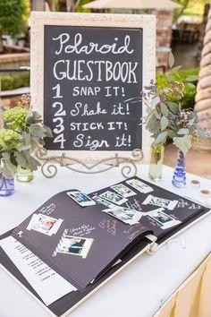 Polaroid guestbook // unique, rustic, outdoor, wedding