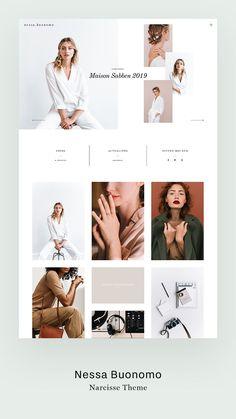 Minimalistic, stylish, trendy website design - Nessa Buonomo's website design built with Flothemes, Narcisse theme. A trendy, stylish website de - Website Design Inspiration, Fashion Website Design, Website Design Layout, Web Layout, Layout Design, Minimal Web Design, Flat Design, Design Responsive, Template Web